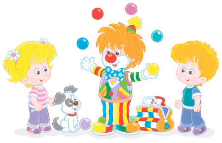 Friendly smiling circus clown showing trick and juggling with colorful balls for little kids and their small pup, vector cartoon illustration isolated on a white background