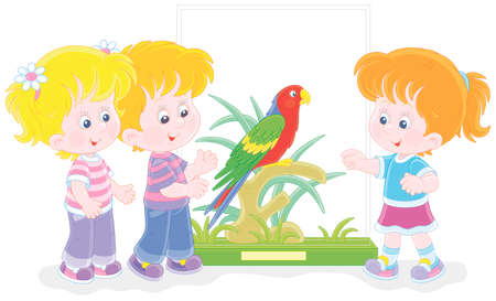 Happy little children walking at a zoological garden and a funny tropical parrot with bright colorful plumage and a long tail, vector cartoon illustration isolated on white