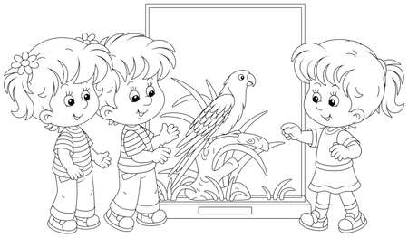 Happy little kids walking at a zoological garden and watching a funny tropical parrot with bright plumage and a long tail, black and white outline vector cartoon illustration for a coloring book
