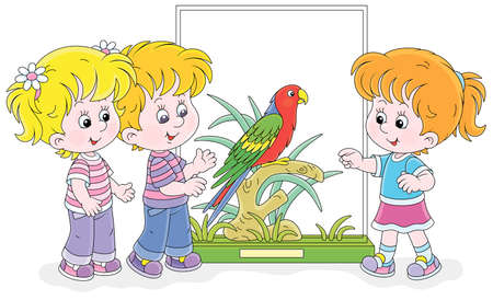 Happy little kids walking at a zoological garden and a funny tropical parrot with bright colorful plumage and a long tail, vector cartoon illustration isolated on white Vectores