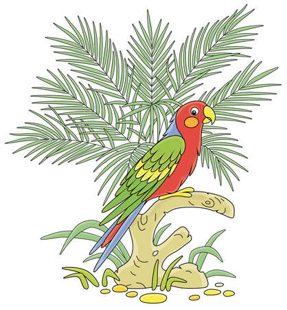 Amusing colorful long-tailed parrot perched on a tree branch among green palm leaves in a tropical jungle, vector cartoon illustration isolated on a white background