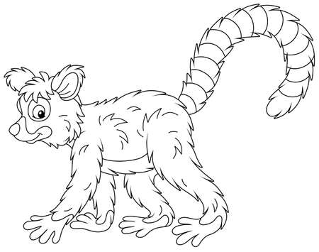 Exotic tropical Madagascar lemur with a very long striped tail walking, black and white outline vector cartoon illustration for a coloring book page