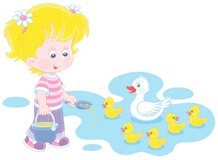 Little girl farmer standing with a bucket of feed grain and feeding a merry brood of small yellow ducklings and a cute white duck on a pond in a village, vector cartoon illustration Vectores