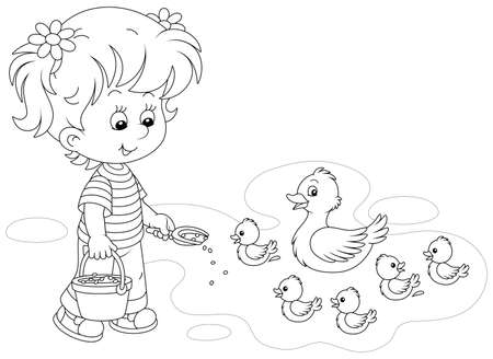 Little girl farmer standing with a bucket of feed grain and feeding a merry brood of small ducklings and a cute duck on a pond in a village, black and white vector cartoon illustration