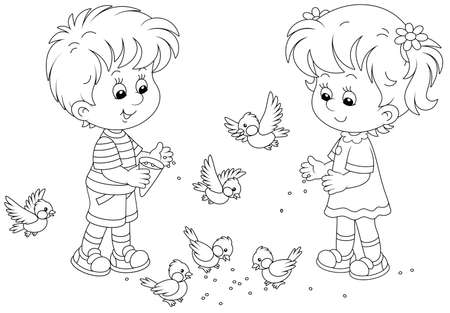 Happy little children feeding with corn a small flock of merry sparrows and titmice, black and white outline vector cartoon illustration for a coloring book page