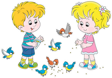 Happy little children feeding with corn a small flock of merry sparrows and titmice, vector cartoon illustration isolated on a white background