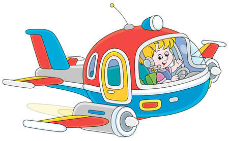 Happy little boy piloting a colorful toy high-speed jet plane on a playground, vector cartoon illustration on a white background