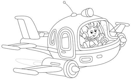 Happy little boy piloting a toy high-speed jet plane on a playground, black and white outline vector cartoon illustration for a coloring book page