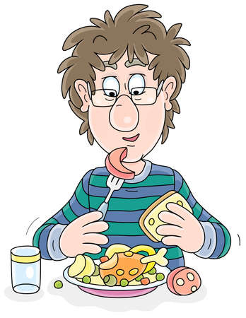 Funny young fellow with disheveled hair having lunch at table, vector cartoon illustration on a white background