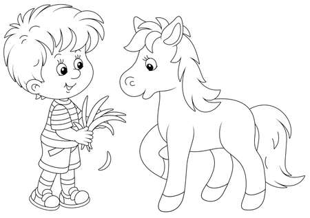 Happy little boy feeding a cute small pony with fresh grass, black and white outline vector cartoon illustration for a coloring book page Vectores