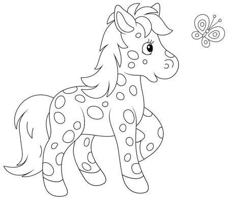 Spotted cute little pony playing with a merry flittering butterfly, black and white outline vector cartoon illustration for a coloring book page