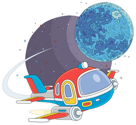 Toy spaceship flying around a small planet in space flight, vector cartoon illustration on a white background