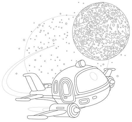 Toy spaceship flying around a small planet in space flight, black and white outline vector cartoon illustration for a coloring book page Vectores