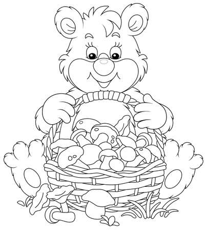 Little bear mushroomer friendly smiling and sitting with a big wicker basket full of picked mushrooms on a forest glade, black and white outline vector cartoon illustration Vectores
