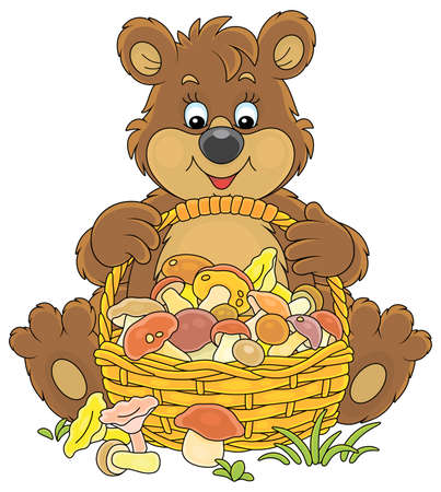 Little brown bear mushroomer friendly smiling and sitting with a big wicker basket full of picked mushrooms on a forest glade, vector cartoon illustration isolated on a white background