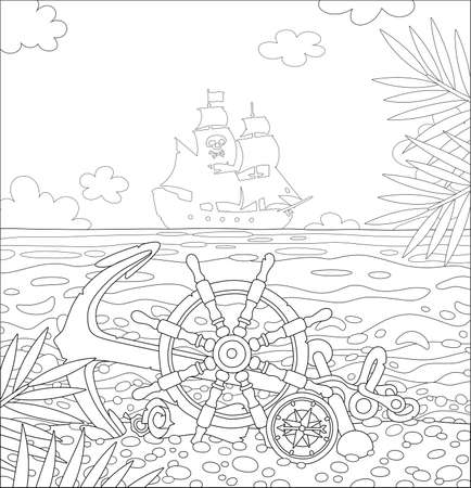 Pirate ship helm, an anchor, a compass and an old map of hidden treasures of filibusters on a sandy beach of a desert island in a tropical sea, black and white vector cartoon for a coloring book