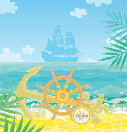 Pirate ship helm, an anchor, a compass and an old map of hidden treasures of filibusters on a sandy beach of a desert island in a tropical sea, vector cartoon illustration