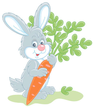 Happy little bunny with a ripe tasty carrot from a summer vegetable garden, vector cartoon illustration isolated on a white background
