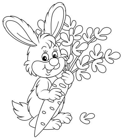 Happy little bunny with a ripe tasty carrot from a summer vegetable garden, black and white outline vector cartoon illustration for a coloring book page Vectores