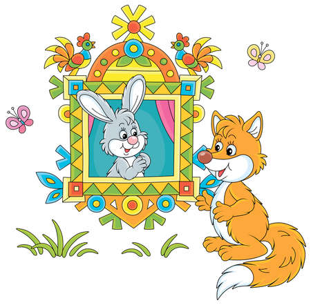 Sly red fox talking to a little gray hare looking out of a traditionally decorated window of a village log house from a fairytale, vector cartoon illustration isolated on a white background