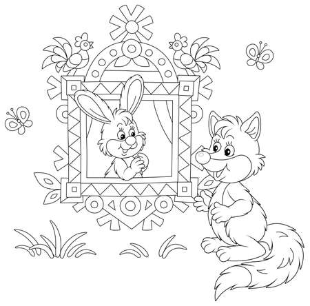 Sly fox talking to a little hare looking out of a traditionally decorated window of a wood village log house from a fairytale, black and white outline vector cartoon illustration for a coloring book p Vectores