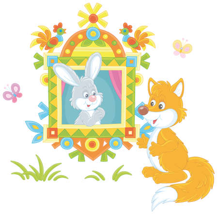 Sly red fox talking to a little gray hare looking out of a traditionally decorated window of a wood village log house from a fairytale, vector cartoon illustration isolated on a white background