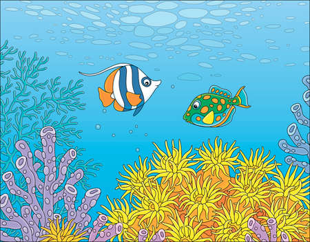 Exotic small fishes swimming in blue water of a colorful coral reef in a tropical southern sea, vector cartoon illustration
