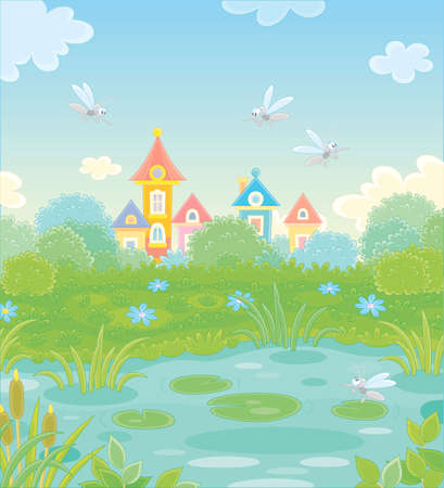 Angry gray mosquitoes flying and humming around a small pond in a green summer park of a pretty town, vector cartoon illustration