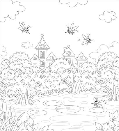Angry mosquitoes flying and humming around a small pond in a summer park of a pretty town, black and white outline vector cartoon illustration for a coloring book page Vectores