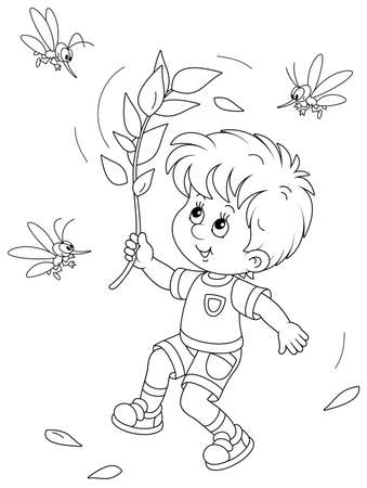 Cheerful little boy jumping, dispersing with a branch and brushing off small angry mosquitoes flying and humming around him, black and white outline vector cartoon illustration Vectores