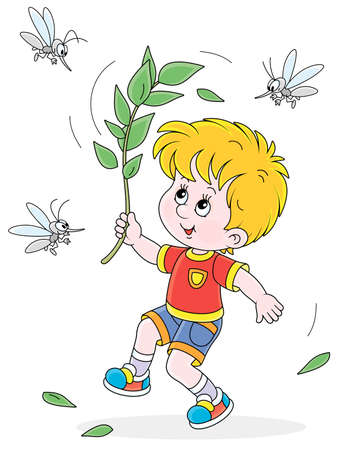 Cheerful little boy jumping, dispersing with a branch and brushing off small angry mosquitoes flying and humming around him, vector cartoon illustration isolated on a white background Vectores