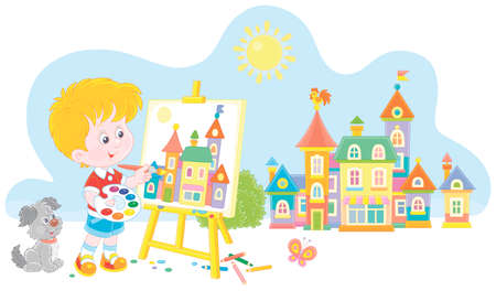 Little boy with his cheerful pup drawing in watercolors and color pencils a pretty small town on a sunny summer day, vector cartoon illustration isolated on a white background