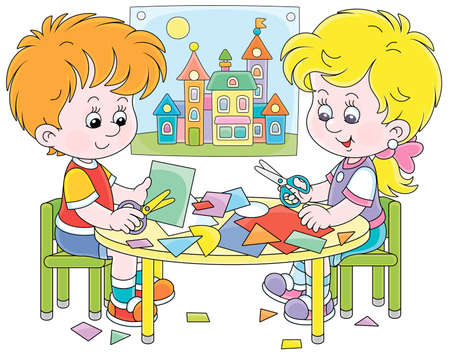 Happy little children cutting outlines and figures from color paper with scissors and making a funny picture of a pretty toy town, vector cartoon illustration isolated on a white background Vectores