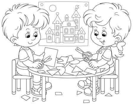 Happy little children cutting outlines and figures from paper with scissors and making a funny picture of a pretty toy town, black and white outline vector cartoon illustration for a coloring book