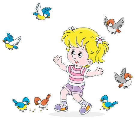 Happy little girl playing with a small flock of merry sparrows and titmice, vector cartoon illustration isolated on a white background