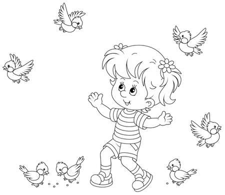 Happy little girl playing with a small flock of merry sparrows and titmice, black and white outline vector cartoon illustration for a coloring book page