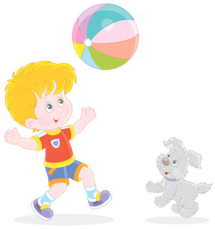 Happy little boy running and playing a big colorful ball with his cute merry pup on summer vacation, vector cartoon illustration Vectores