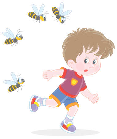 Afraid little boy running away from a swarm of angry wasps flying and humming around him, vector cartoon illustration isolated on a white background Vectores