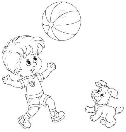 Happy little boy running and playing a big striped ball with his cute merry pup on summer vacation, black and white outline vector cartoon illustration for a coloring book page