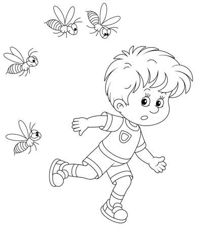 Afraid little boy running away from a swarm of angry wasps flying and humming around him, black and white outline vector cartoon illustration for a coloring book page