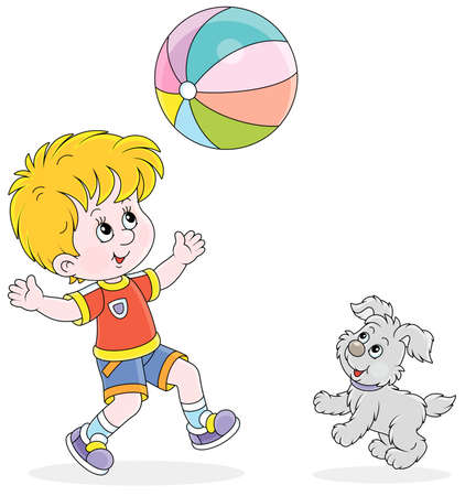 Happy little boy running and playing a big colorful ball with his cute merry pup on summer vacation, vector cartoon illustration isolated on a white background