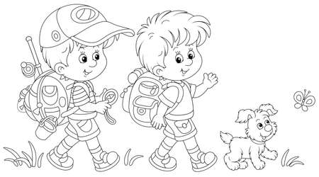 Cheerful little boys backpackers with a tourist compass and rucksacks, friendly smiling, talking and walking with their merry pup on summer vacation, black and white vector cartoon illustration