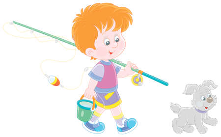 Cheerful little boy fisherman going angling with his fishing rod and a bucket, together with a merry small pup, on summer vacation, vector cartoon illustration isolated on a white background