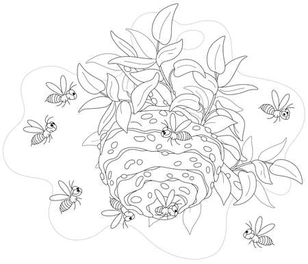 Angry swarm of striped wasps flying and buzzing around their hive on a branch in a summer forest, black and white outline vector cartoon illustration for a coloring book page Vectores