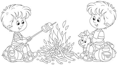 Little boy-scouts with a small pup in a forest camp, friendly smiling, talking and roasting bread on campfire, on summer vacation, black and white outline vector cartoon illustration