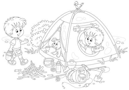 Cheerful little boys tourists with a merry pup in their forest camp by a small lake on summer vacation, black and white outline vector cartoon illustration for a coloring book page