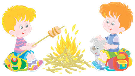 Little boy-scouts with a small pup in a forest camp, friendly smiling, talking and roasting bread on campfire, on summer vacation, vector cartoon illustration isolated on a white background Vectores