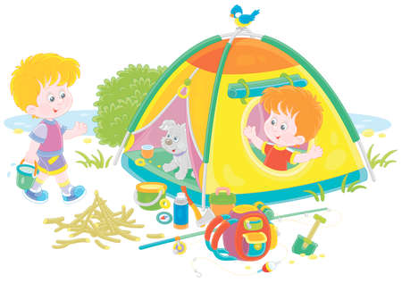 Cheerful little boys tourists with a merry pup in their forest camp by a small lake on summer vacation, vector cartoon illustration isolated on white