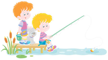 Cheerful little boys fishing on a small pond in countryside, together with their merry pup, on summer vacation, vector cartoon illustration isolated on a white background