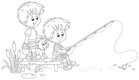 Cheerful little boys fishing on a small pond in countryside, together with their merry pup, on summer vacation, black and white outline vector cartoon illustration for a coloring book page